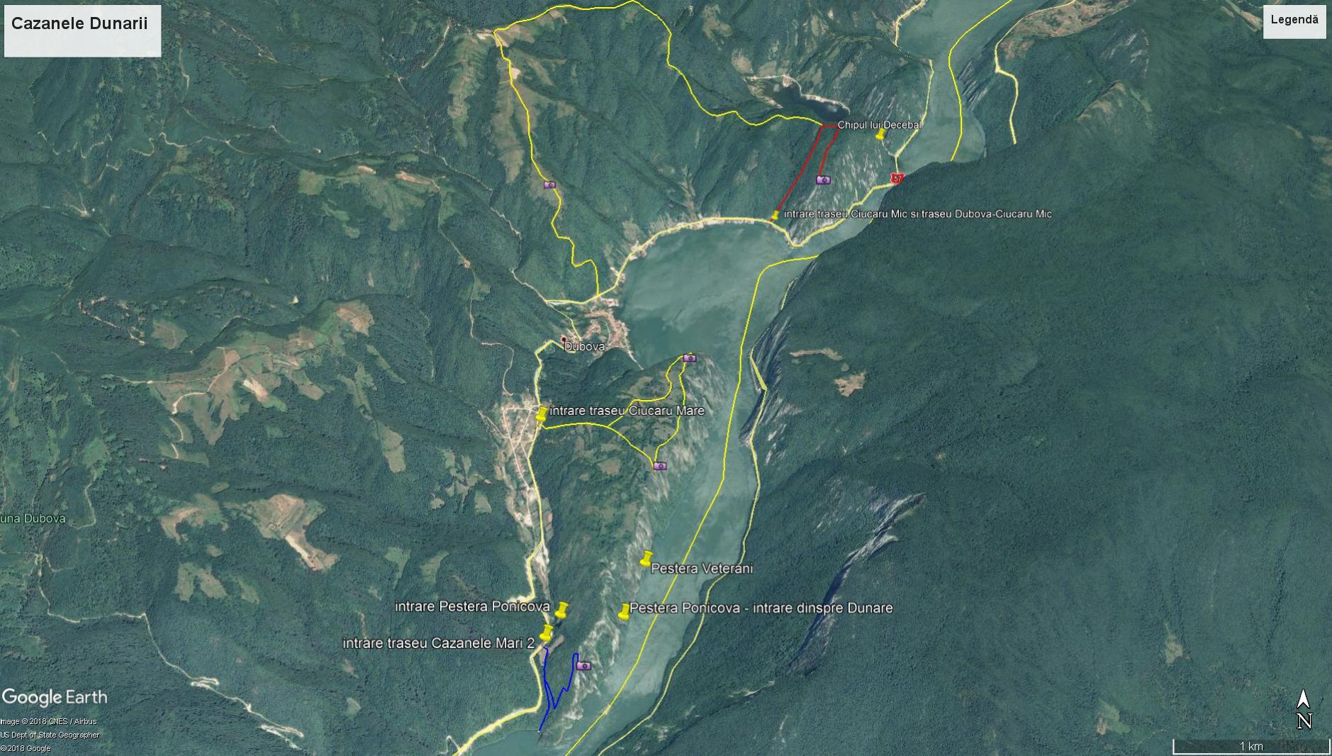 Harta Cazanele Dunarii Portile De Fier Travelguideromania